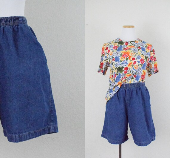 Vintage Elastic Waist Denim Shorts by Erika