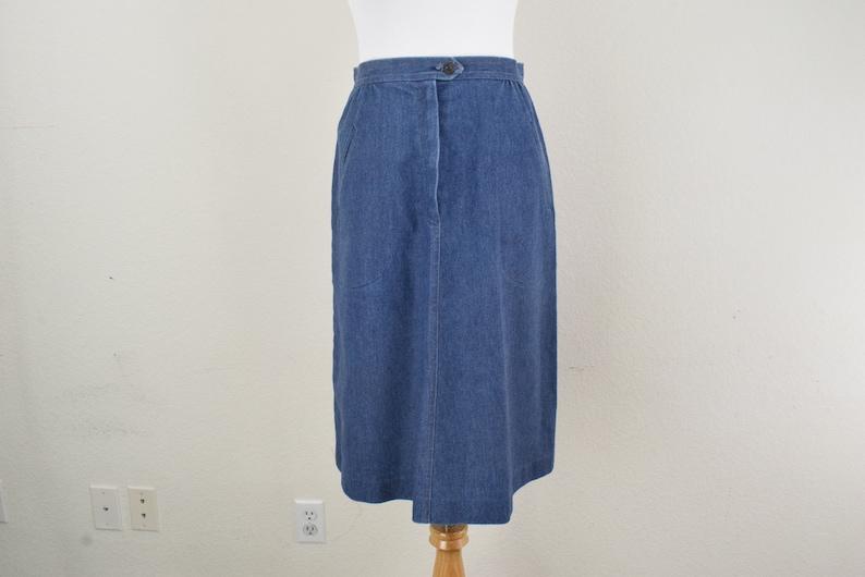 bad4932f1 FREE usa SHIPPING Vintage blue denim skirt/ jean skirt/ ILGWU | Etsy