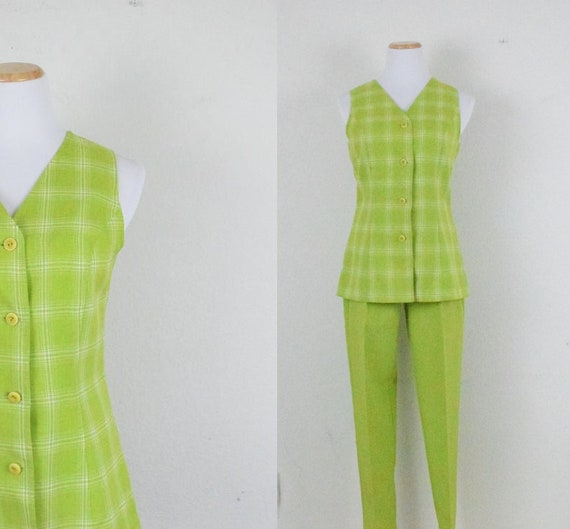 Vintage 80's Lime Green Button up Rayon Sleeveless