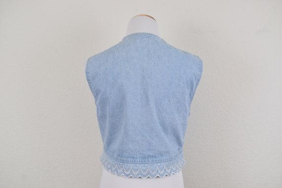 Denim Cropped Vest - image 4