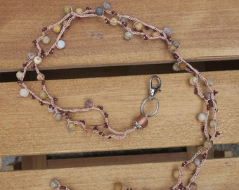 Lanyard: Crocheted Light Tan S-Lon Cord with Jasper Beads and Brown Seed Beads