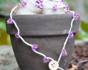 Handmade Beaded Lanyard Sale / Purple Beaded Lanyard / Crocheted Lanyard / Jewelry Lanyard / Jewelry Gift / Fashion Lanyard / Teacher Gift