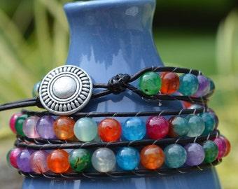 Wrap Bracelet: Leather BoHo Chic