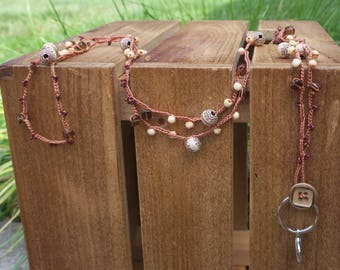 Lanyard: Crocheted Brown S-Lon Cord with Cream Beads with Brown Design, Light Color Wood Beads, Brown Square Glass Beads, & Brown Seed Beads