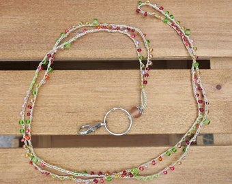 Lanyard: Crocheted Light Tan S-Lon Cord with Various Shaped & Sized  Red, Yellow, Green, Pink, and Clear Seed Beads