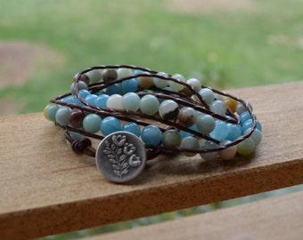 Wrap Bracelet: Leather BoHo Chic; Amazonite Beads; Crystal Quartz Beads