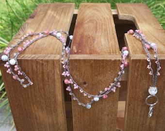 Pink, Gray, and White Beaded Lanyard / Pink Czech Glass Beads / White Howlite Beads / Crocheted Lanyard / Jewelry Lanyard / Fashion Lanyard
