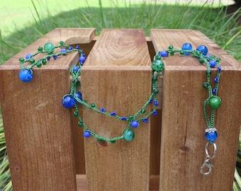 Handmade Beaded Green & Blue Lanyard / Crocheted Lanyard / Jewelry Lanyard / Jewelry Gift / Teacher Gift / Fashion Lanyard / Gift for Her