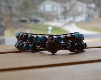 Wrap Bracelet: Leather BoHo Chic; Mossy Jasper Beads