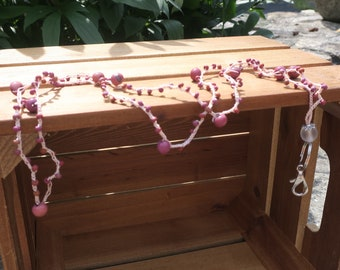 Lanyard: Crocheted Tan S-Lon Cord with Large Pink/Purple Beads & Small Pink/Purple Seed Beads