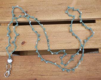 Handmade Lanyard with Unique Beads / Beaded Lanyard / Teal & Cream Beaded Lanyard / Jewelry Lanyard / Fashion Lanyard / Jewelry Gift