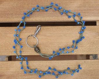 Lanyard: Crocheted Green S-Lon Cord with Blue Faceted Czech Glass Beads, and Blue Seed Beads of Different Sizes