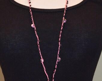 Pink & Black Beaded Lanyard / Sale Lanyard / Handmade Crocheted Lanyard / Fashion Lanyard / Jewelry Lanyard / Teacher Gift / Jewelry Gift