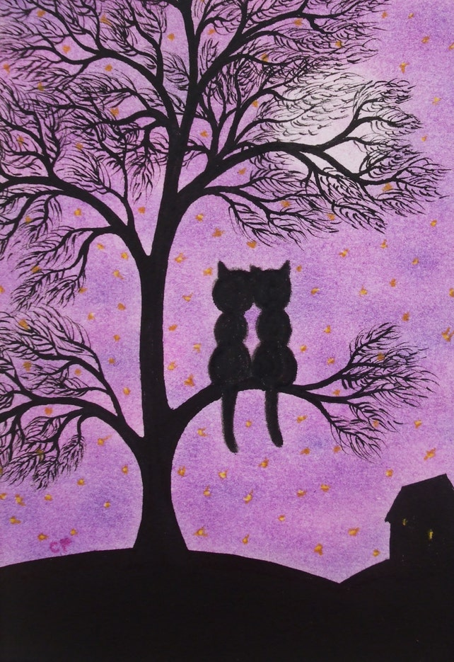 Cat Picture Romantic Cats Tree Print Wedding Gift Black Etsy