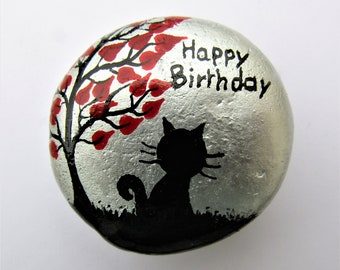Cat Painted Rock, Unique Birthday Gift, Black Cat Magnet, Painted Stone, Cat Tree Hearts, Hand Painted Pebble, Small Birthday Gift, Kids Art