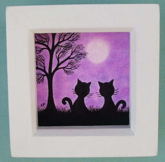 cat picture framed cats tree moon purple cat art drawing etsy