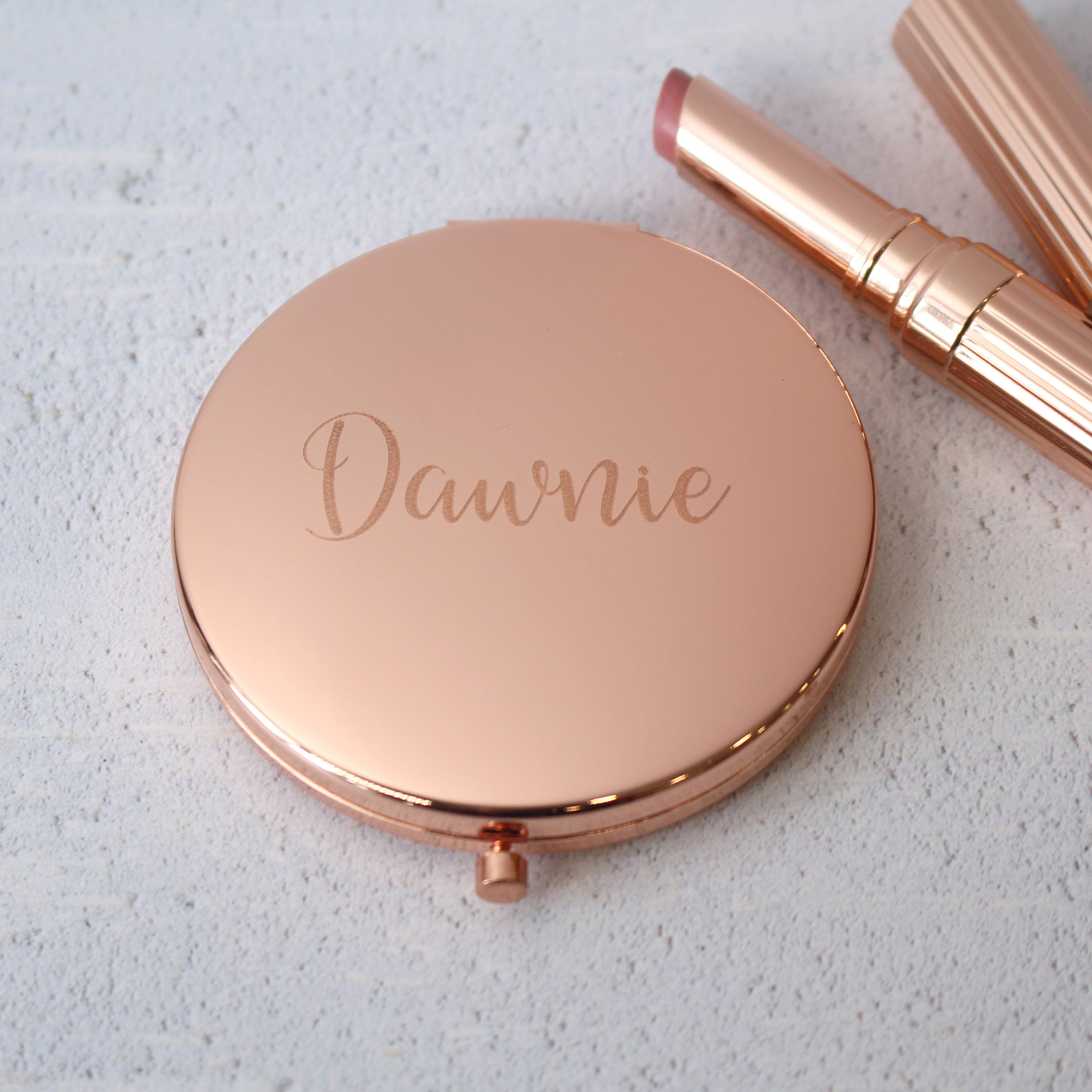 Engraved Compact Oval Mirror Personalised Graduation Engagement Wedding Gift