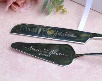 Personalised Silver Wedding Cake Knife and Server Set, Stainless Steel Server set engraved with names and wedding date