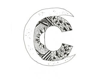 Crescent Moon Letter C Original Art Print