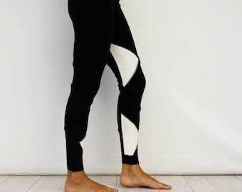 Black and White Two Colours Knitted Leggings, Christmas Gift, Gift For Her, Black and White, Leggings For Women, Unique Gifts