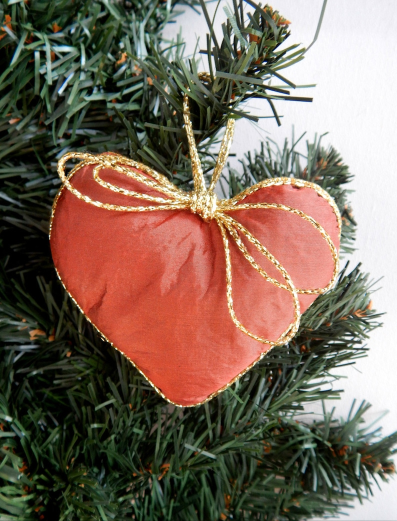 Mother/'s Day Gift Hanging Heart Set of Three in Burnt Orange House decor Ornament Hearts Beige and Terracotta Wedding Gift