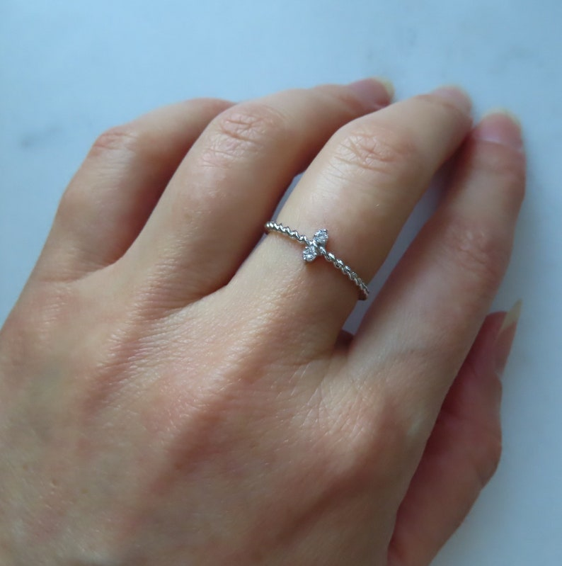 Double ball ring Stacking ring 14K Gold Twisted rope ring with diamonds dainty ring Minimalist ball ring Fashion ring