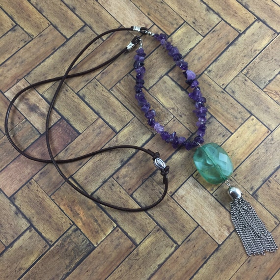 32 Best Compliments Of Purple Images On Pinterest: Silver Chain Tassel Glass Amethyst Purple Chips Sage Green