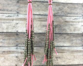 Handmade Teal, Coral or White Tassel Earrings