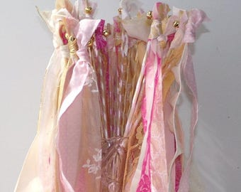 Fairy Princess Wands, Set of 24, Girl Birthday Party Favors, Rustic Chic Wedding, Bride Groom Send Off, Streamers with Bell