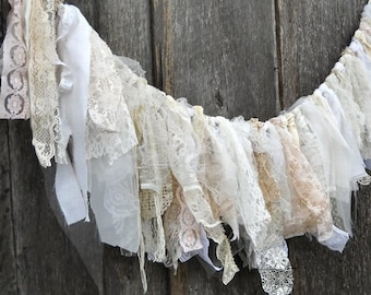 Lace Wedding Garland, 4 Ft Rustic Chic Banner, Romantic Prairie Party Decor, Window Valance