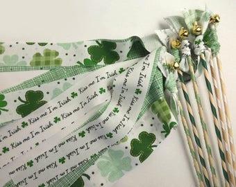 5-in Leprechaun Wand  Shamrock Wand  Good Luck Magic Wand  St Paddy Wand  Fairy Wand  Wired Glass Bead Wand Patrick/'s Day Wand  St