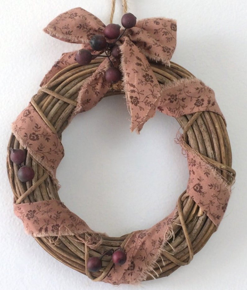 rustic country chic holiday wall hanging Mini twig Christmas wreath tattered fabric /& berries farmhouse decoration