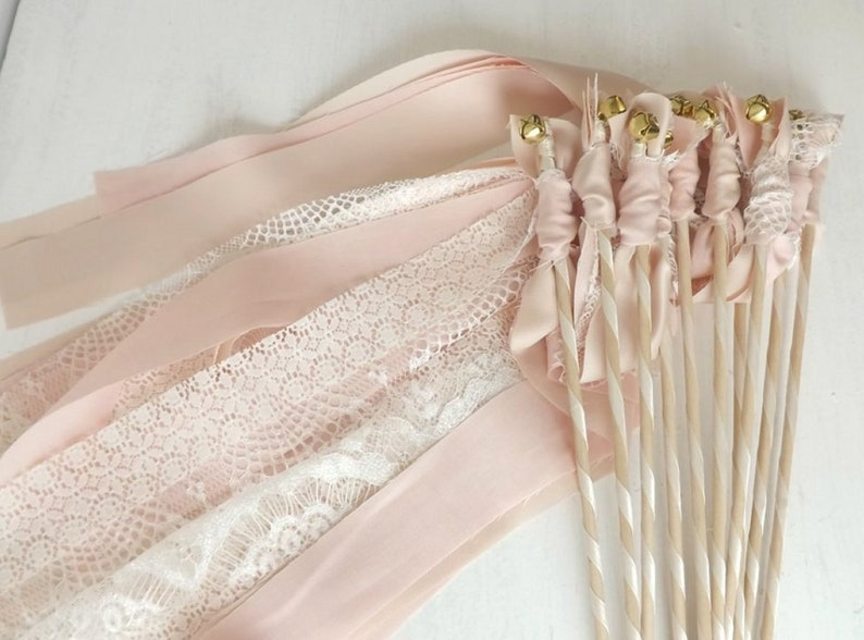 75 Ribbon wands with fabric /& lace wedding send off toss alternative
