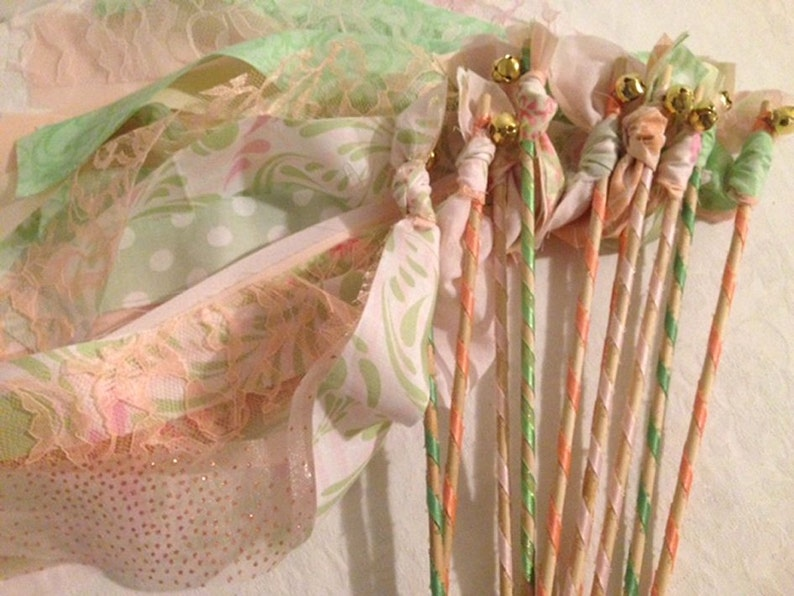 Rustic Chic Wedding Girl Birthday Party Favors Fairy Princess Wands Streamers with Bell Bride Groom Send Off Set of 24