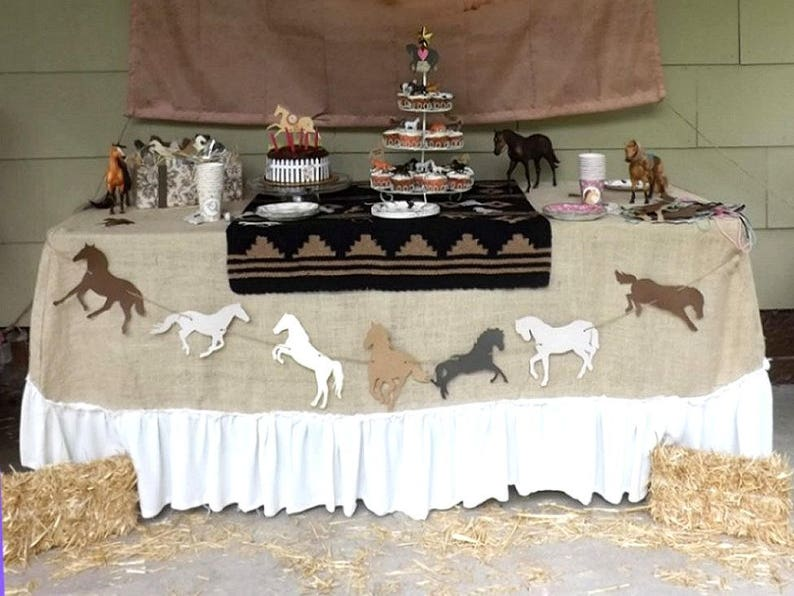 Horse party banner die cut garland in choice of color theme image 0