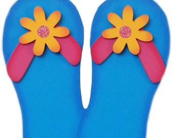 a10221a62fa9e1 Fun Summertime Flip flop kids room or outdoor garden decoration hand  painted blue pool decor. Girls room sandal decor Flip flops forever