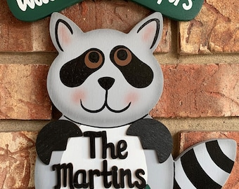 Racoon wood painted camping sign-personalized