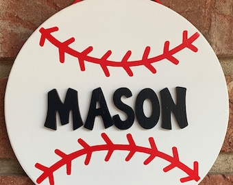 Personalized painted wood baseball boys room sign
