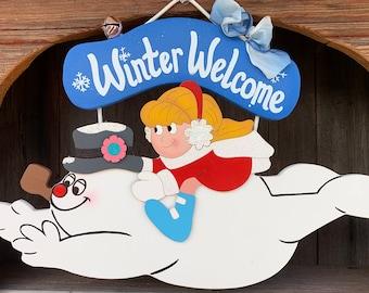 Frosty the Snowman & Karen winter wood painted sign
