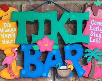 Tiki Bar-Wood Painted Tiki Bar Sign