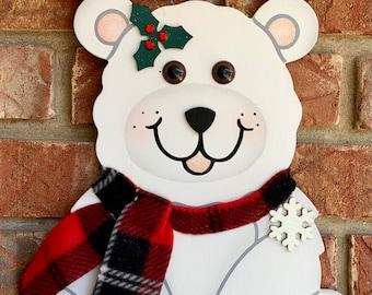 Polar Bear wooden painted decorative sign- winter Polar Bear decoration