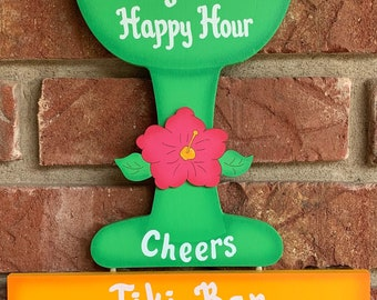 Every hour is Happy Hour-Margarita painted wood bar sign