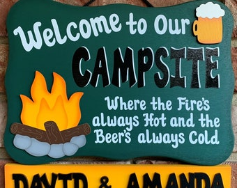 Wood Outdoor Camping Sign Personalized- Fires always hot, beers always cold
