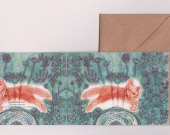 2 Grusskarten-Set Recycling Papier Klimaneutral gedruckt in Berlin FUCHS Radierung