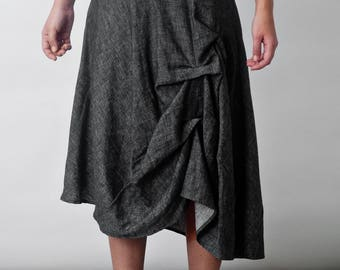 Art 44/18 Gonna Carpa. Made in Italy,Atelier, Handmade, Sartorial, Summer, Skirt, Knee lenght,Pleats, Curl, Asymmetric.