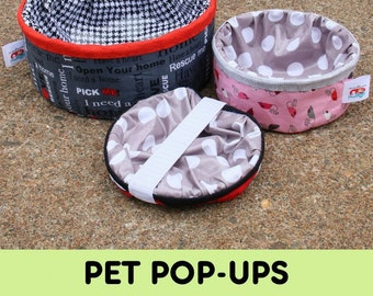 Pet Pop Up Bowl - Travel Water Dish - Fat Quarter Gypsy By Joanne Hillestad  - Two Sizes - DIY Project - Pattern ONLY, Spring not included