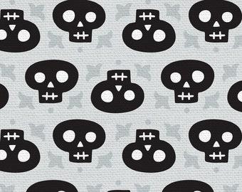 Halloween Night - Skulls - Katie Larson - Paintbrush Studio - 120 21313 Black & Gray - Priced by the 1/2 yard
