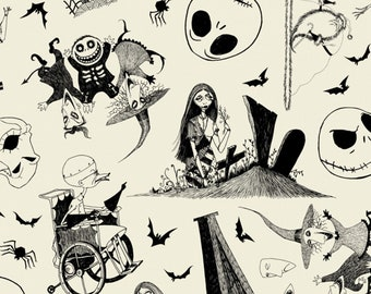 Jack Skellington & Sally - Nightmare before Christmas  Jack is Back! - Camelot Fabric 85390305-1 Cream - Priced by the Half yard