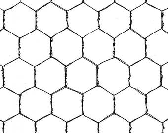 Chicken Wire Fabric - Wire by Loralie Designs, Chicken Chique Collection 692-230 White - Priced by the 1/2 yard