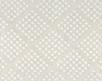 Solid Off-White Fabric - Tone on Tone White Diamonds 47727 WW - Priced by the half yard
